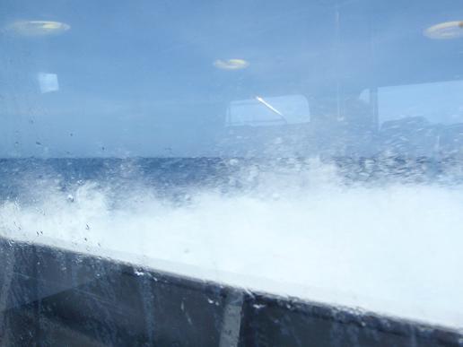 高速艇で時速50km位で飛ばすから、ちょっとした波でもむちゃくちゃ揺れるんですよね~