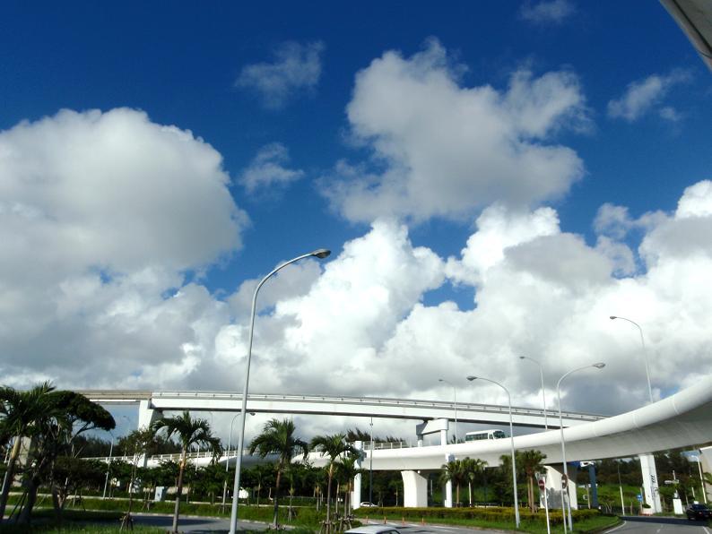 こちらは、6月29日に那覇空港の前で撮りました。こんな青空はこれっきり5日間見てないですね。
